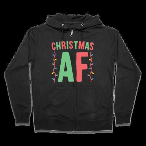 Christmas AF (White) Zip Hoodie