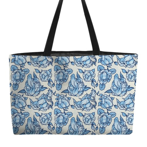 Floral Penis Pattern Blue Weekender Tote
