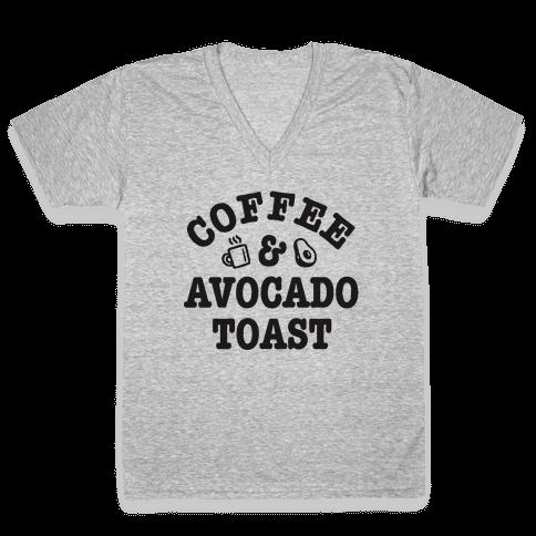 Coffee & Avocado Toast V-Neck Tee Shirt
