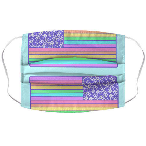 PASTEL GAY PRIDE 2 AMERICAN FLAGS Face Mask Cover