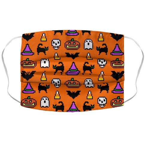 Pixel Halloween Pattern Accordion Face Mask