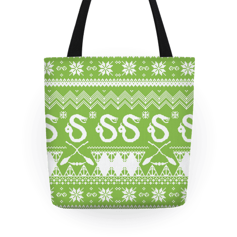 Hogwarts Ugly Christmas Sweater: Slytherin Tote