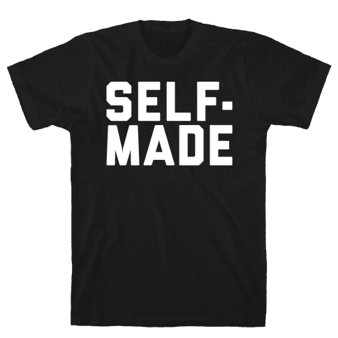 Self-Made White Print Mens T-Shirt