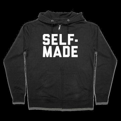 Self-Made White Print Zip Hoodie