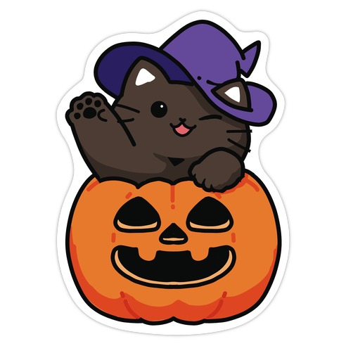 Cute Halloween Cat Die Cut Sticker
