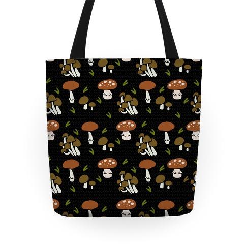 Forest Mushroom Boho Pattern Black Tote