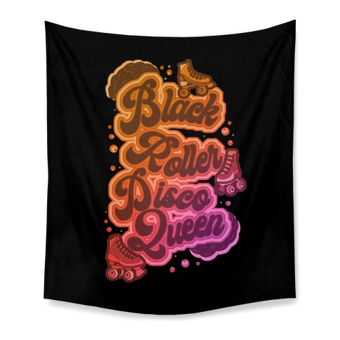 Black Roller Disco Queen Tapestry