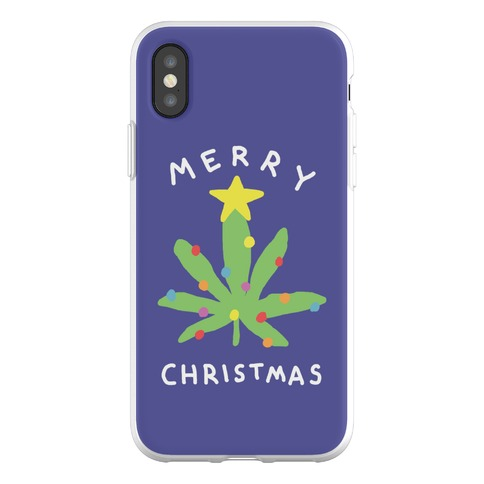 Merry Christmas Pot Leaf Phone Flexi-Case