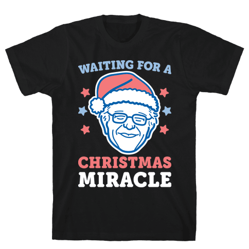 Waiting For A Christmas Miracle Bernie Sanders - White Mens T-Shirt