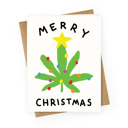 Funny christmas card greeting cards lookhuman merry christmas pot leaf greeting card m4hsunfo