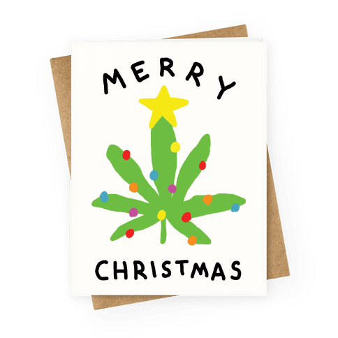 Merry Christmas Pot Leaf Greeting Card
