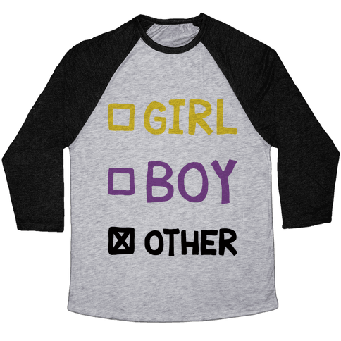 Non-Binary Gender Checklist Baseball Tee