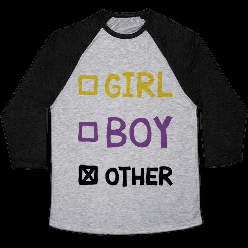 Non-Binary Gender Checklist Baseball Tee
