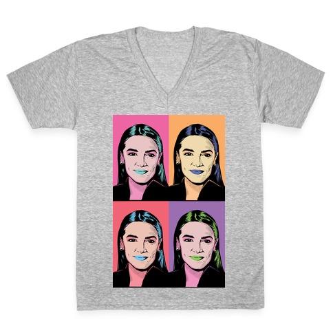 Alexandria Ocasio-Cortez Pop Art Parody V-Neck Tee Shirt