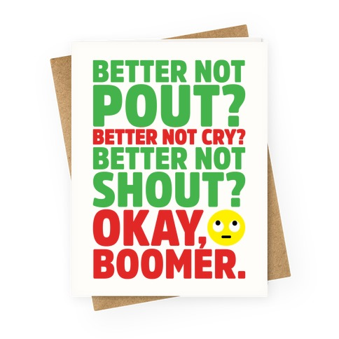 Okay Boom Santa Parody Greeting Card