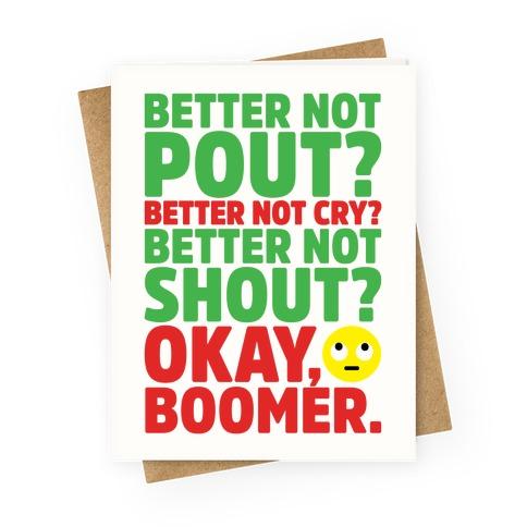 Okay Boom Santa Parody Greeting Card
