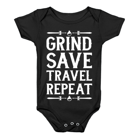 Grind, Save, Travel, Repeat Baby Onesy