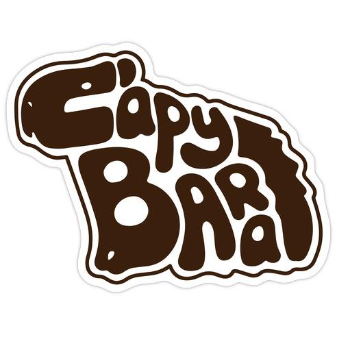 Capybara Font Illustration Die Cut Sticker