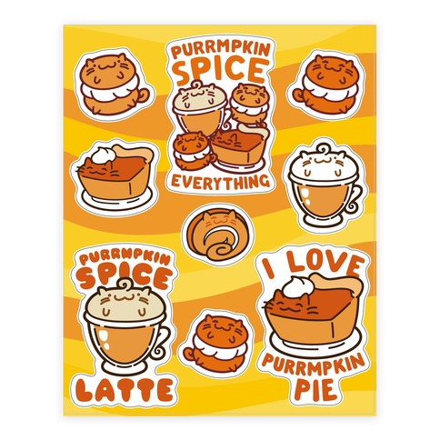 Purrmpkin Spice Cat Sticker and Decal Sheet