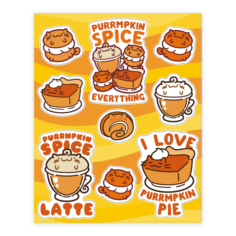 Purrmpkin Spice Cat  Sticker/Decal Sheet