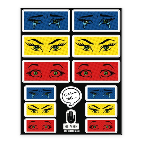 Pop Art Eye Sticker/Decal Sheet
