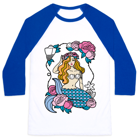 Nautical Tattoo Mermaid Baseball Tee