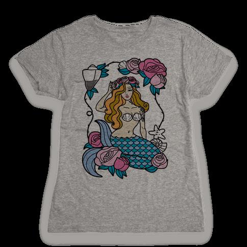 Nautical Tattoo Mermaid Womens T-Shirt