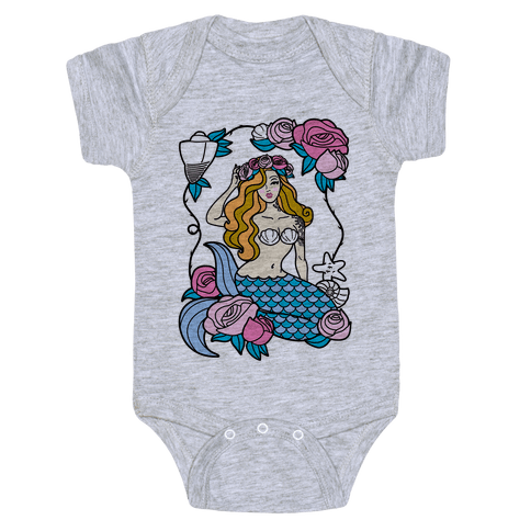 Nautical Tattoo Mermaid Baby Onesy