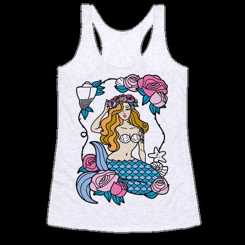 Nautical Tattoo Mermaid Racerback Tank Top