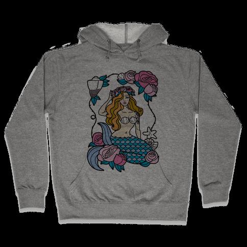 Nautical Tattoo Mermaid Hooded Sweatshirt