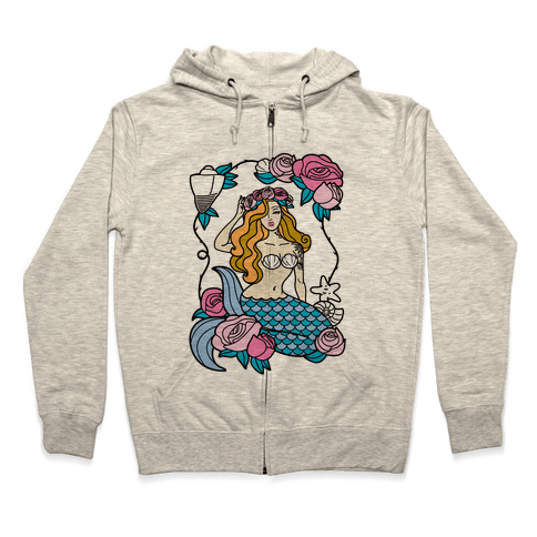 Nautical Tattoo Mermaid Zip Hoodie