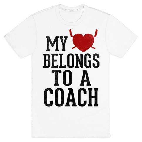 My Heart Belongs To A Hockey Coach (Baseball Tee) Mens T-Shirt