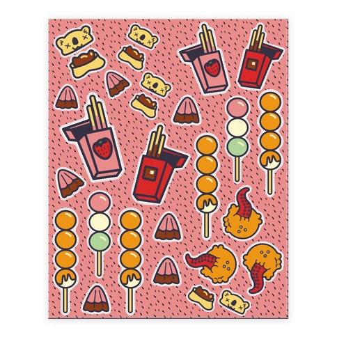 Japanese Snacks and Candy  Sticker/Decal Sheet