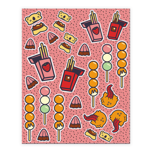 Japanese Snacks and Candy Sticker and Decal Sheet