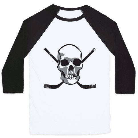 Hockey Skull Baseball Tee