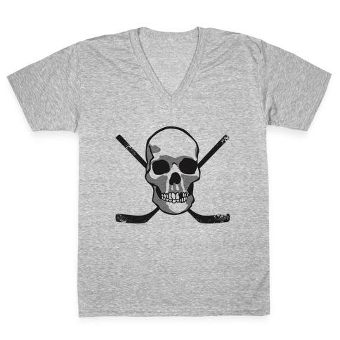 Hockey Skull V-Neck Tee Shirt