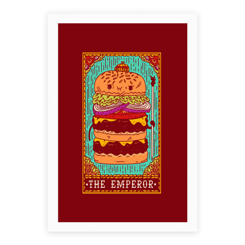 Burger Emperor Tarot Card Poster