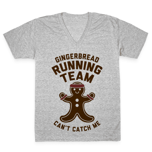 Gingerbread Running Team V-Neck Tee Shirt