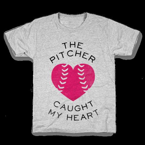 The Pitcher Caught My Heart (Baseball Tee) Kids T-Shirt