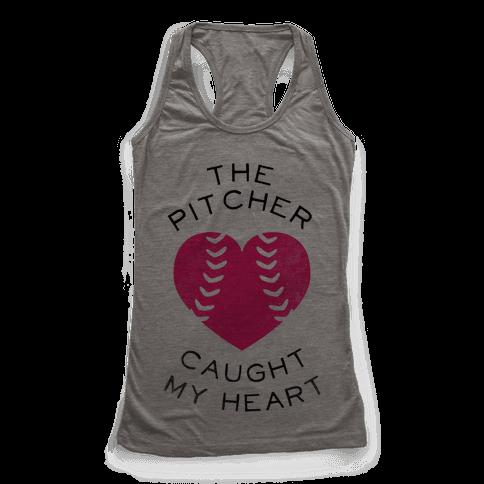 The Pitcher Caught My Heart (Baseball Tee) Racerback Tank Top