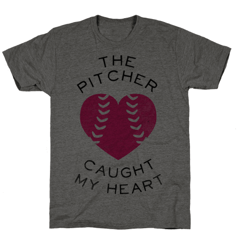 The Pitcher Caught My Heart (Baseball Tee) Mens T-Shirt