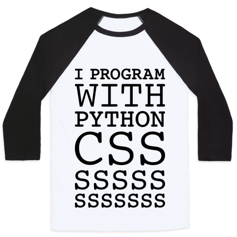 I Program With Python CSS Baseball Tee