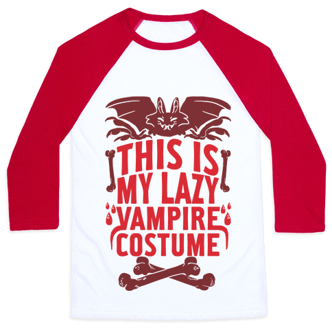 This Is My Lazy Vampire Costume Baseball Tee