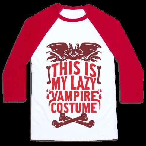 This Is My Lazy Vampire Costume Baseball Tee