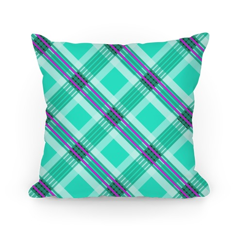 Minty Green Plaid Pillow Pillow