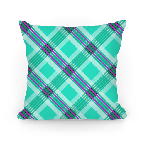Minty Green Plaid Pillow