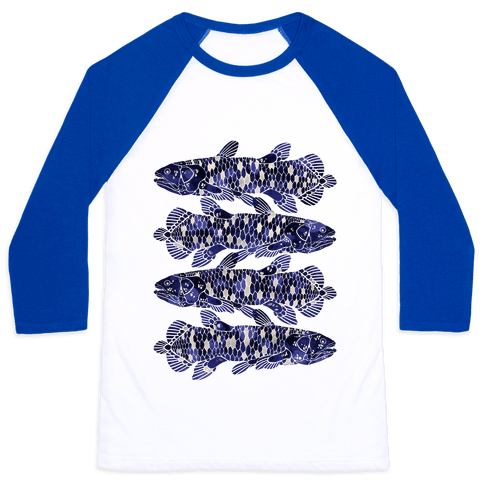 Geometric Jeweled Coelacanth Fish Baseball Tee