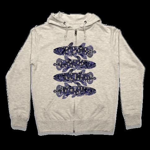 Geometric Jeweled Coelacanth Fish Zip Hoodie