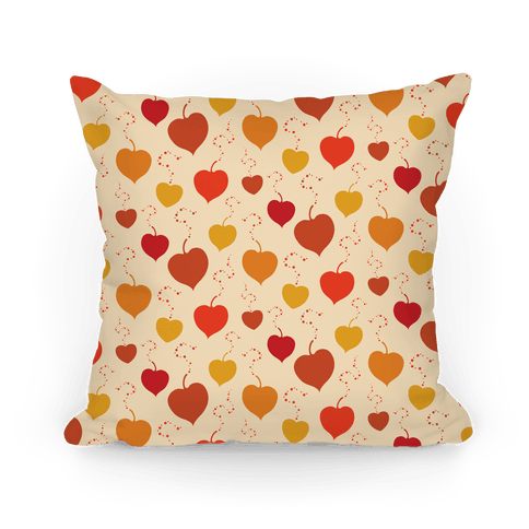 Falling Heart Shaped Autumn Leaves Pattern Pillow