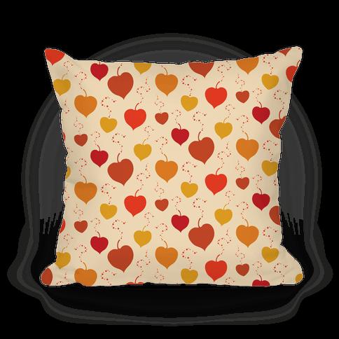 Falling Heart Shaped Autumn Leaves Pattern Pillow